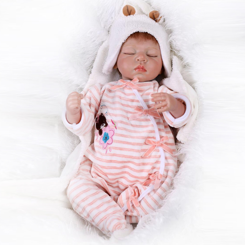 Closed Eeys 50-55cm Silicone Reborn Baby Doll Soft Touch Cloth Body Lifelike Baby Toys Play House Best Gift for Little Girl DIY<br><br>Aliexpress
