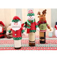 Christmas Decoration Snowman Santa Claus Elk Knitting Wine Bottle Cover Xmas Gift New Year Party Table Decortive Supplies - pickupit store
