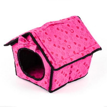 New Product Dog Bed Soft Dog Kennel Dog House For Pets Cat Puppy Home Shape Animals House Products For Animal Removable bow tie