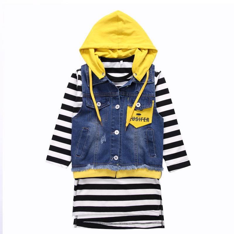 Toddlers Clothing Sets For Girls Long Sleeve Striped Dresses &amp; Denim Waistcoats 2pcs Spring Autumn Children Outfits Kids Clothes<br>