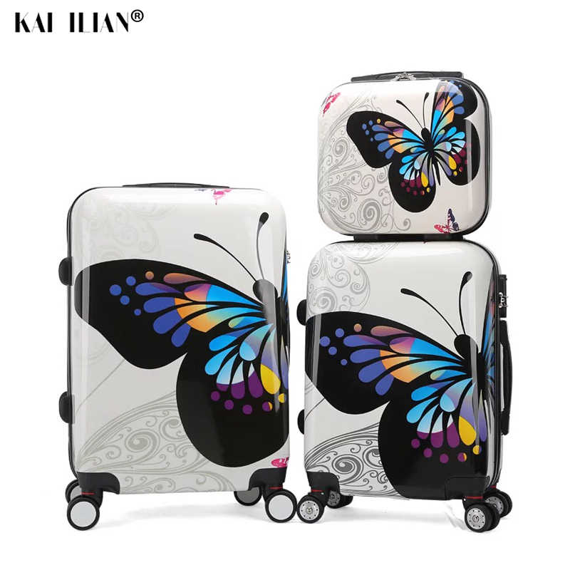 ABS+PC Luggage set Women Travel suitcase on wheels cabin Rolling luggage  carry on trolley suitcase set girls trolley luggage bag