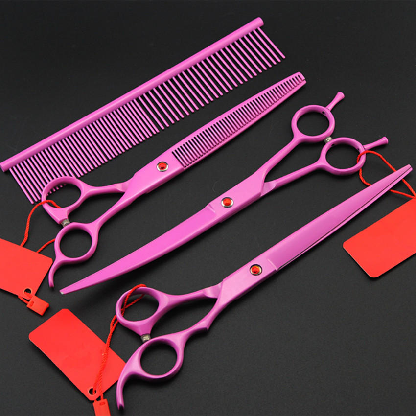 4 kit japan 8 inch pink pet dog grooming shears thinning haircut hair scissors cutting barber tools hairdressing scissors set<br>