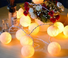 Rice White 2M 20 balls lights cotton ball string light for Christmas festival decoration bar outdoor beautify(China)