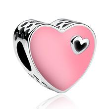Valentine Original Silver Plated Pink Enamel Heart Bead Charm Fit European Pandora Charm Bracelets Jewelry Making Accessories
