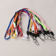 10pcs/Lot Random Color Mobile Phone Lanyards Neck Strap For Phone ID Pass Card Badge Gym Key USB Holder Straps Rope(China)