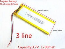 323696 XWD 323696P 323694 3.8V 1700MAH 1600MAH battery li-Lion 3 wires for china clone MTK phone goophone I6 6S IP6