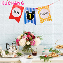 1 Set I am 1 Today Banner Paper Lovely Birthday Bunting One Year Old Baby Boys Girls the First 1st happy Birthday party supplies(China)