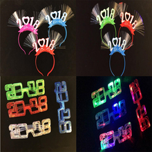 Creative Number 2018 LED Flashing Glasses Light-Up Fiber Headband Bar Night Club Dress Decorations Glow Party Supplies