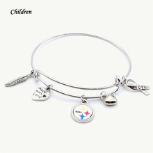 Sport Children Jewelry Pittsburgh Steelers Charms Bracelet&Bangle Kids Child Football Sport Bracelet 2018 New Fashion(China)