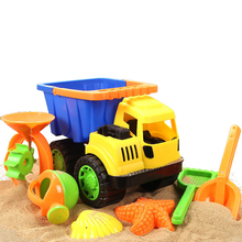 7pcs Cars Beach Toys Sand Bath Toys set Dune Bucket Rakes Sand Wheel Watering Sand Play Polymer Clay Bucket Spade Mold Tools