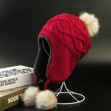 2-10T Baby Hat Raccoon Fur Ball Hat Children's Winter warm Hats For Girl Boys Winter Caps All For Children's Clothing
