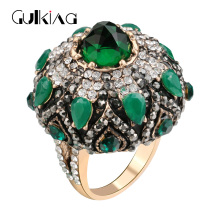2017 New Classic luxury Big Green Crystal Rings For Women Banquet Dress Turkish Jewelry Accessories Finger Ring Christmas Gift