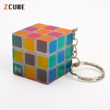 Zcube Keychain Magic Cubes 3x3x3 Speed Puzzle Cubes Green light Transparent Glow Cube Educational Toys for Children Luminous