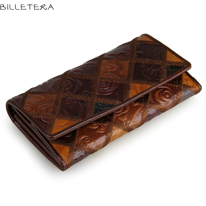 THREEPEAS High Quality Wallet Vintage Luxury  Genuine Leather Women Wallets Long Design Leather Womens Wallets and Purses<br>
