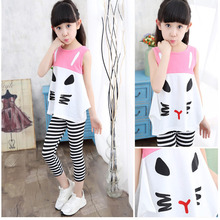 Children Clothing Pajamas Set 2017 Summer Vest Baby Girl Sets Striped Pants Cute Cat Kids Girls Pink Black Clothes Casual - somitechxm04 Store store