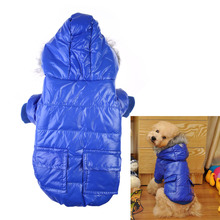 Cute Pet Coat Dog Warm Hooded Winter Polyester Coats Two Pocket Jacket Clothes Pets Dogs Parkas Clothing Dog S/M/L/XL/XXL E5M1(China)