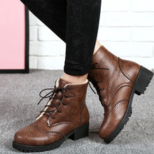 Womens Winter Boots Shoes Ladies Vintage Lace Up Black/Brown Leather Daily Leisure Shoes Fashion Stylish Bullock Flat Boots Fall