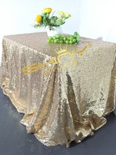 90x156inch Light Gold Sequin Tablecloth Wedding Cake Tablecloth-Light Gold(China)
