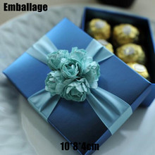 Wedding Rushed Accept New Arrival Paper Box Blue 10*8*4cm 50pcs/lot Paperboard Recyclable Candy Chocolate Packaging Boxes