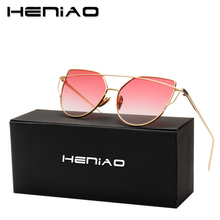 HENIAO Fashion Cat Eye Sunglasses Women Brand Alloy Frame UV400 HD Sun Glasses Unique Flat Ladies Sunglasses Oculos