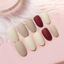 Popular Fashion Solid Gradient Color False Nails 24pcs/set Middle Length Full Cover Deep Brown to Light White Nail Tips