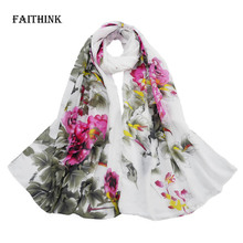[FAITHINK] New Casual Peony Floral Scarf  Women Gradual Chiffon Silk Wrap Foulard Long Soft Female Scarves Brief Beach Towel