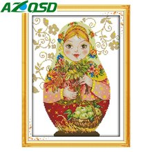 AZQSD Russian Dolls DMC Cross Stitch Kits Embroidery Needlework DIY 11CT & 14CT Printed Cloth Counted Cross Stitch c217890y