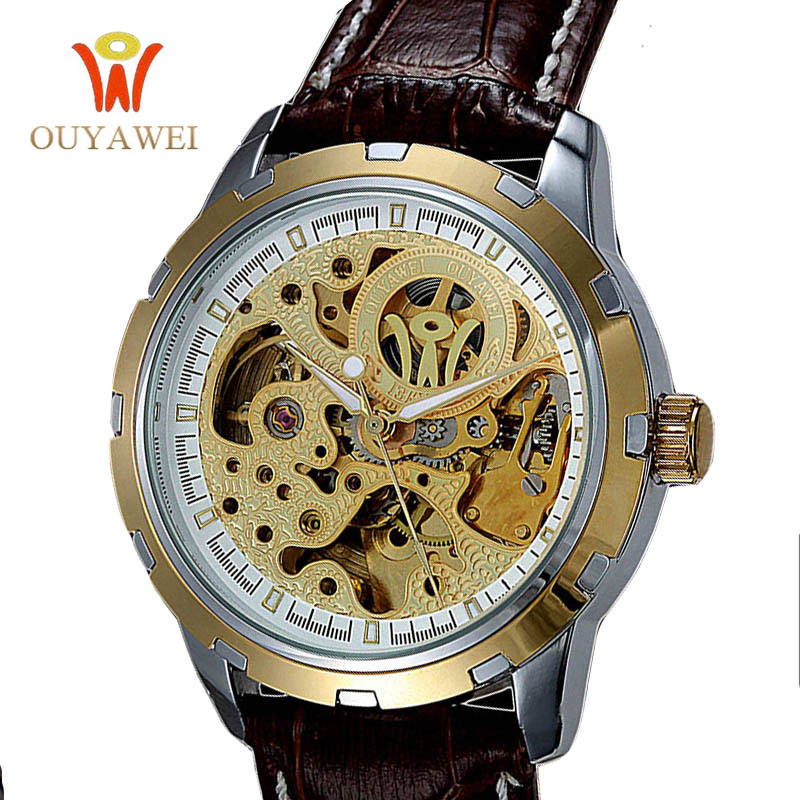 2017 NEWEST OUYAWEI Skeleton Watch Top Brand Luxury Gold watch Men Leather Mechanical Wristwatches reloj hombre<br><br>Aliexpress