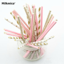 25pcs/lot 6mm Striped Paper Straw Mixed Kids Birthday Wedding Party Decorations DIY Straw Event Supplies Drinking Paper Straws