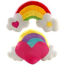 Candice guo! Hot sale colorful plush toy heart angel rainbow cushion holding pillow Christmas gift 1pc