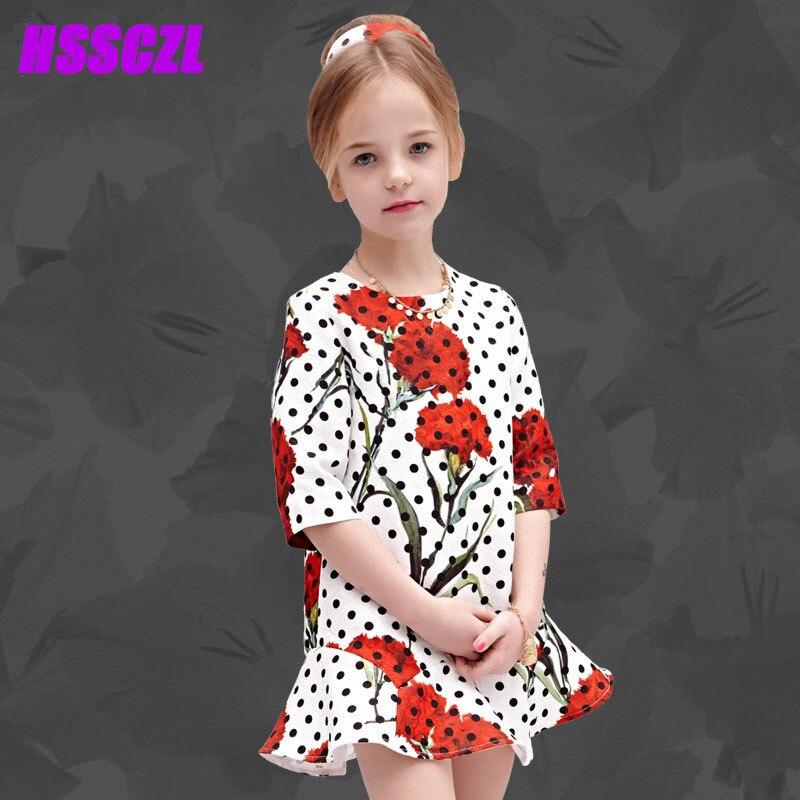 HSSCZL 2017 new girl dress summer girls kids sleeve printed dots decorative flowers polyester + cotton children clothes dresses<br>