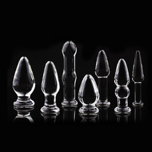 1Pc Glass Anal Butt Plugs Crystal Dildos Beads Ball Erotic Stimulator Fake Penis Female Masturbate Sex Toys for Couples(China)