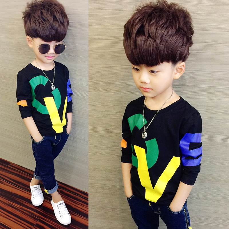 COOTELILI 80-130cm Black T-Shirt Children Tops Letter Kids Clothes Long Sleeve T Shirt Toddler Boys Spring Clothing Costume (4)