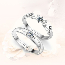 1PC! Fashion Silver Plated Opening Hollow Couple Rings For Men/ Women To Live The Retro Ring Angel Wing Jewelry