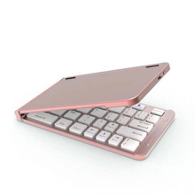 Newest Ultra Slim Aluminium F88 Two Fold Metal Folding Wireless Bluetooth keyboard For Apple iPad IOS Android Windows System(China)