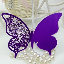 120PCS Purple Laser Cut Out Flower Butterfly Party Table Name Place Cards Wedding Favor Centerpieces Wedding Decor(China)