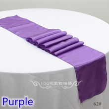 wedding decoration table runner,satin table runner,purple colour table runner for wedding,banquet,party decoration