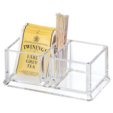 2 Compartment Clear Acrylic Tea Bags Holder Coffee Sugar Bag Boxes Acrylic Storage Box YAC002