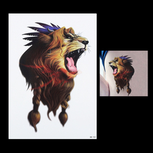 1pc Cool 3D Gold Roar Wild Lion Animal Tattoo Decal Arm Back Leg Body Art Decal Waterproof Tattoo HB152 Temporary Tattoo Sticker