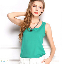Buy Fashion New Summer New Women Clothing Fashion Chiffon Tank Tops Vest Shirts Solid Candy Color Chiffon Loose Top Shirt Women for $2.39 in AliExpress store