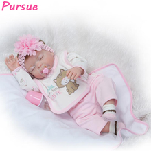 "Pursue 20""/50cm Sleep Lifelike Doll Full Body Silicone Reborn Baby Dolls for Girls bebe reborn menina com corpo de silicone 50cm(China)"