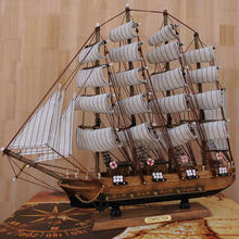 50cm Mediterranean Style Decoration Wooden Sailboat Craft Gift Everything Is Going Smoothly Sailing Ship Model