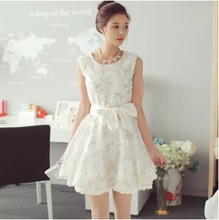 Spring Summer 2017 New Sexy Lace Dress Organza Casual Ball Gown Dresses With Bow Short Mini Party Dress Women WD1033