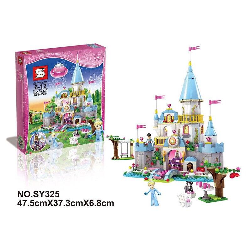 669 PCS New SY325 Building Block Cinderella Romantic Castle Princess Friend Blocks   Bricks Girl Sets Toys<br><br>Aliexpress
