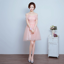 cheap lace up back tea dress blush pink girls sweet 16 short embellished bridesmaid dresses for teens wedding guest H3692
