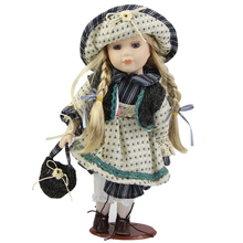 31 cm 12'' Realistic Ceramic Doll Matryoshka Girl Model With Gold Long Hair DIY Ethnic Porcelain Doll Toy Kits Playmates Hot