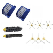 2 Blue AeroVac Filter + 1 set main Brush kit +6 side brush for iRobot Roomba 600 Series 620 630 650 660 Accessory(China)