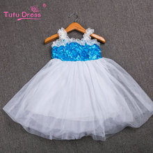 TUTUDRESS Girls Dress 2017 New Summer Mesh Girls Clothes Blue Rosette Princess Dress Children Summer Clothes Baby Girls Dress(China)