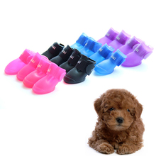 New Dog Shoes Candy Colors Dog Boots Waterproof Protective Rubber Pet Rain Booties