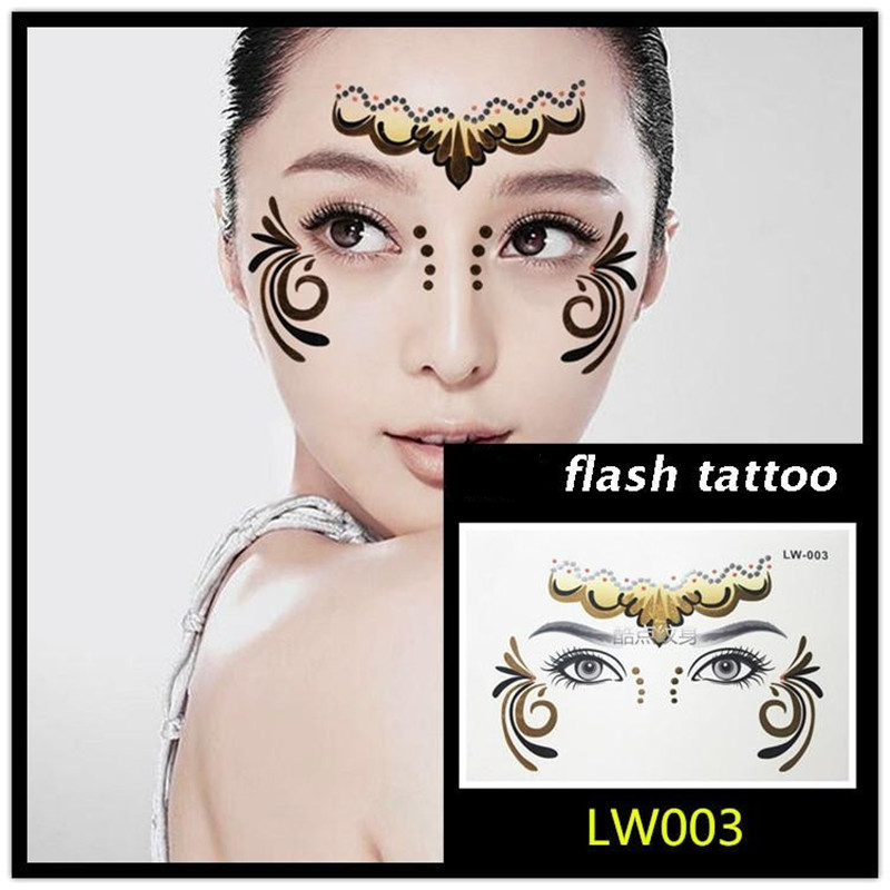 Hot sale Masquerade flash tattoo paste face temporary face stickers jewelry Arab India's large temporary tattoos makeup tattoo 5
